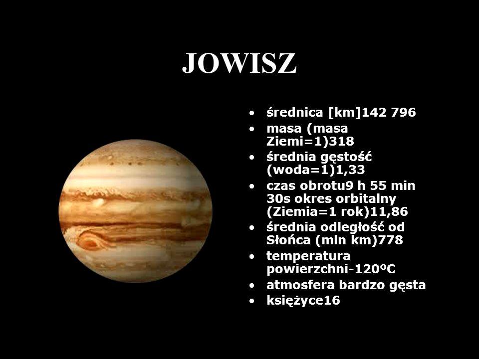 JOWISZ średnica [km]142 796 masa (masa Ziemi=1)318